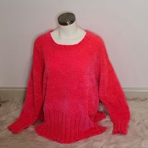 NWT Seven7 Hot Pink/Coral Plush Sweater Size XL